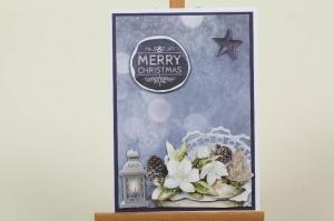 schöne Weihnachtskarte in aufwändiger Handarbeit hergestellt: winterliches Blumengesteck - Handarbeit kaufen
