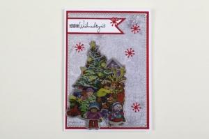 schöne Weihnachtskarte in aufwändiger Handarbeit hergestellt: Um den Tannenbaum - Handarbeit kaufen