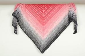 XL Dreieckstuch handgehäkelt Schultertuch, Tuch, Stola luftig leicht im Muster-Mix m. schönem Farbverlauf - Handarbeit kaufen