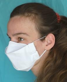 Mund-Nasen-Maske weiss, Bio-Baumwolle, 3-lagig (Nr. 42 A)