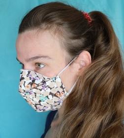 Mund-Nasen-Maske, geblümt, Baumwolle, 3-lagig, Nasenbügel, (Nr. 19 A)
