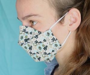 Mund-Nasen-Maske, grün-geblümt, Nasenbügel, Baumwolle, 3-lagig (Nr. 31 A)
