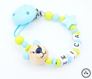 ♡ Schnullerkette mit Namen - Bär/Stern in babyblau/lemon ♡