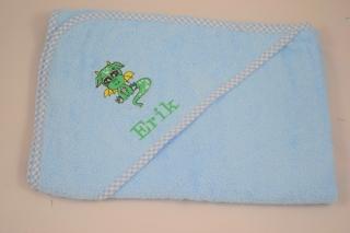 Kapuztenhandtuch  mit Drachenstickerei und Name  - Handarbeit kaufen