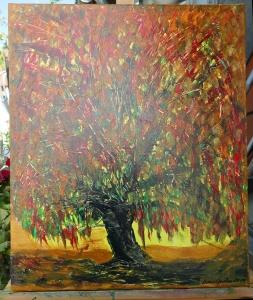 - Baum im Herbst - Unikat und Original Acrylmalerei mit Spachtel auf Keilrahmen im Format 50 x 60 x 1,7 cm