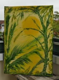 -Sonnengrün- Unikat Original Acrylmalerei auf Keilrahmen 50 x 70 x 1,7 cm (B x H x T)