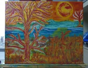-Feuerland- Unikat, Original Acrylmalerei auf Keilrahmen 50 x 40 x 1,8 cm (B x H x T)