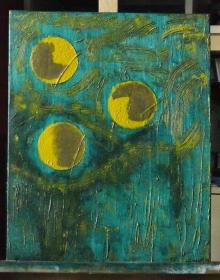 -Drei Monde- Unikat Original Acrylmalerei auf Keilrahmen 40 x 50 x 1,8 cm (B x H x T)