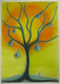 -Baum der Tränen- Unikat, ist mit Pastellkreiden handgemalt auf einen Malkarton 170 g/m² im Format 420 x 597 mm (B x H).