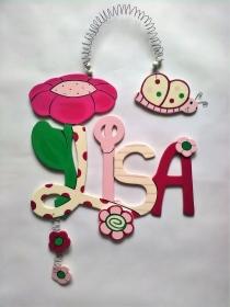 Handgefertigtes Namensschild, Türschild Schriftzug *Blume und Schmetterling* für die Kinderzimmertüre