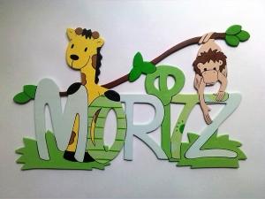 Handgefertigtes Namensschild, Türschild Schriftzug * Giraffe und Affe * für die Kinderzimmertüre , Wand