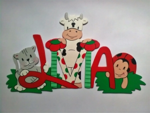 Handgefertigtes Namensschild, Türschild Schriftzug * Katze, Kuh und Marienkäfer * für die Kinderzimmertüre , Wand