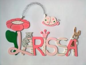 Handgefertigtes Namensschild, Türschild Schriftzug * Blume mit Katze, Hase und Schmetterling * für die Kinderzimmertüre