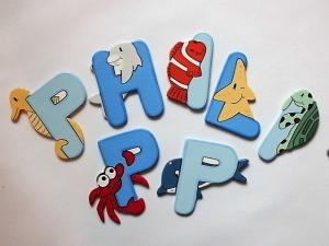 Holzbuchstaben Tiere Schriftzug Türschild für die Kinderzimmertür