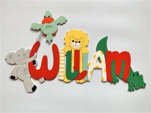 Handgefertigtes Namensschild mit Tieren, Türschild, Schriftzug *Vogel, Krokodil, Elefant, Löwe * für die Kinderzimmertüre , Wand