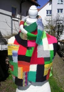 handgestrickter Schal Flickwerk 25 x 155 cm aus Sockenwolle