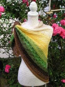 Maiskolben, Strickanleitung für ein Dreieckstuch aus Baumwolle mit Acryl