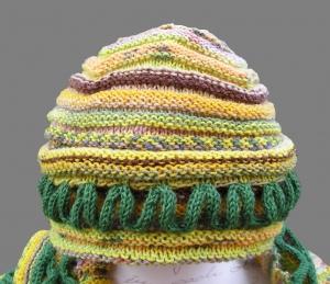 Schlingelding, Strickanleitung für eine Mütze mit Strickschnüren