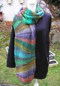 Ziehharmonika, Strickanleitung für einen Schal aus einem Wolle-Seide-Mohair-Gemisch
