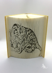 Gefaltetes Buch mit Tiermotiv ☆ Tiger ☆ handgefertigt mit festem Einband gelb gemustert mit Dekosteinen in Handarbeit verziert