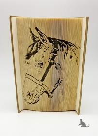 Gefaltetes Buch mit Tiermotiv ☆ Pferd☆ handgefertigt mit festem Einband kaufen