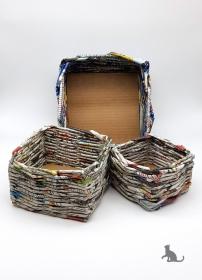 Drei Körbe handgefertigt aus Papier ♡ praktisch und dekorativ ♡ als Geschenk oder für Zuhause