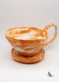 Schale in Tassenform handgefertigt aus Zeitungspapier ♡ praktisch und dekorativ ♡ als Geschenk oder für Zuhause