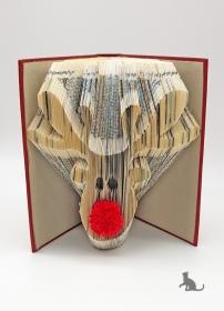 gefaltetes Buch ☆ Elch ☆ mit rotem Einband und Dekosteinen in Handarbeit verziert kaufen
