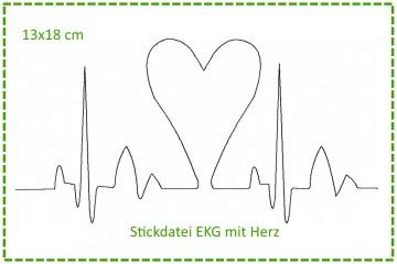 Stickdatei Herzklopfen - EKG mit Herz 13x18cm