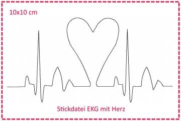 Stickdatei Herzklopfen - EKG mit Herz 10x10cm