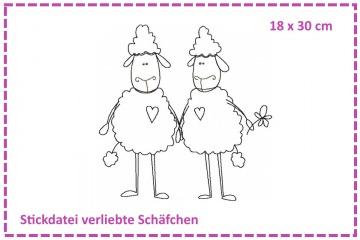 Verliebte Schäfchen Stickdatei 18x30
