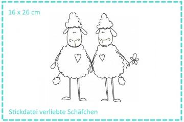 Verliebte Schäfchen Stickdatei 16x26