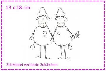 Verliebte Schäfchen Stickdatei 13x18