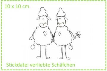 Verliebte Schäfchen Stickdatei 10x10