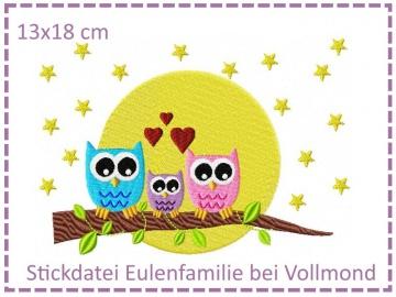 Eulenfamilie bei Vollmond 13x18cm Stickdatei