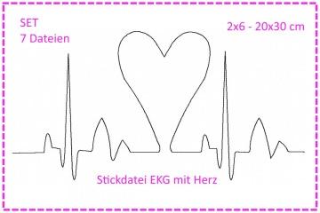Stickdatei SET Herzklopfen - EKG mit Herz