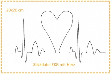 Stickdatei 20x20cm Herzklopfen - EKG mit Herz