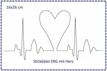 Stickdatei 16x26cm Herzklopfen - EKG mit Herz