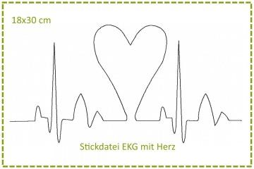 Stickdatei 18x30cm Herzklopfen - EKG mit Herz