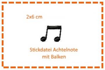 Stickdatei 2x6cm 1/8-Noten mit Balken