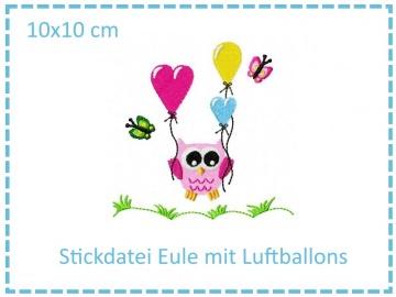 Eule mit Luftballon 10x10cm Stickdatei