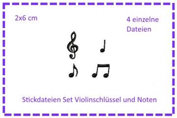 SET Violinenschlüssel & Noten Stickdateien