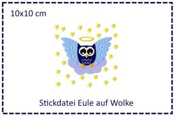 Engel-Eule auf Wolke 10x10cm Stickdatei