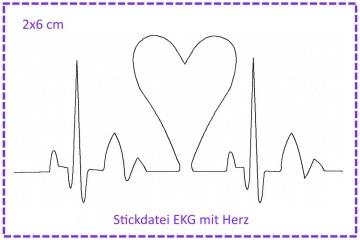 Stickdatei Herzklopfen - EKG mit Herz 2x6cm