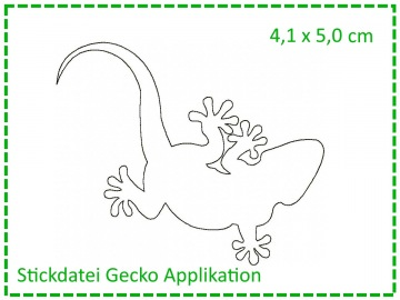Gecko Applikation MINI 10x10 Stickdatei