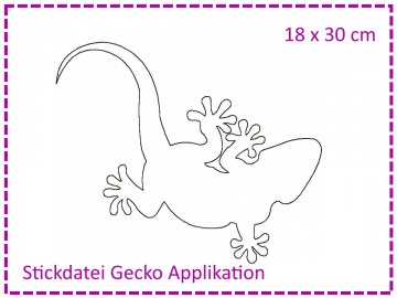 Gecko Applikation 18x30 Stickdatei