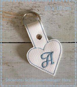 Schlüsselanhänger Herz ABC 13x18 Stickdatei ITH