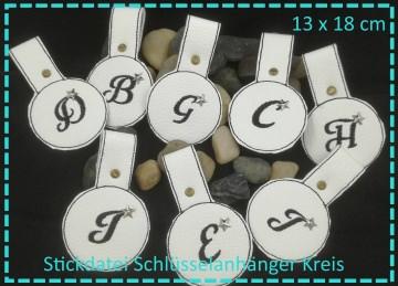 Schlüsselanhänger Kreis ABC 13x18 Stickdatei ITH