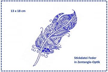 Feder Zentangle 13x18 Stickdatei