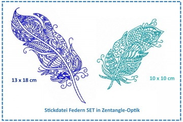 Feder Zentangle SET Stickdatei